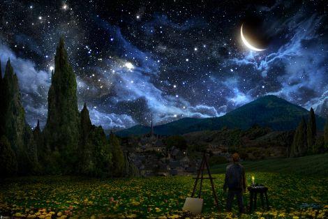 pittore,-cielo-notturno,-paesaggio,-luna,-stelle,-nuvole,-montagna,-prato-182814