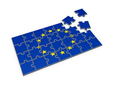 Flag of EU made of puzzles.Isolated on white background.3d rendered.